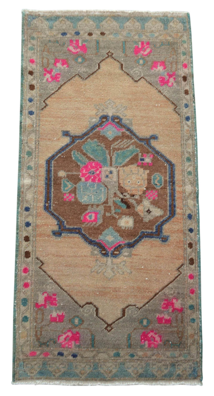 1.10 x 3.10 ft Front of Bathroom Sink Rug  Hand Knotted Small Rug Distressed Low