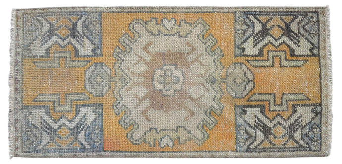 """1'5"""" x 2'11"""" Rug Hand Knotted Oushak Yastik Rug Tribal Patterns Faded Colors"""