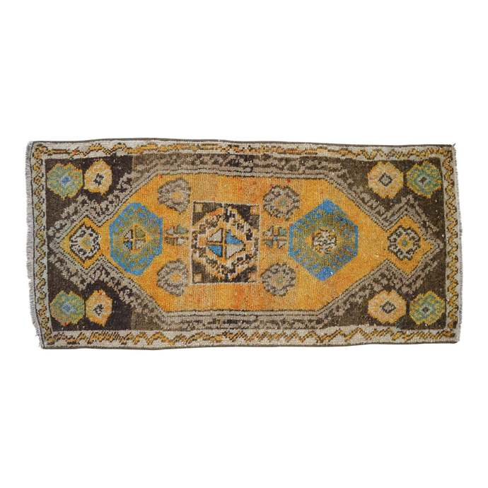 2x4 ft. Rug Hand Knotted Small Kurdish Rug Distressed Low Pile Yastik Rug