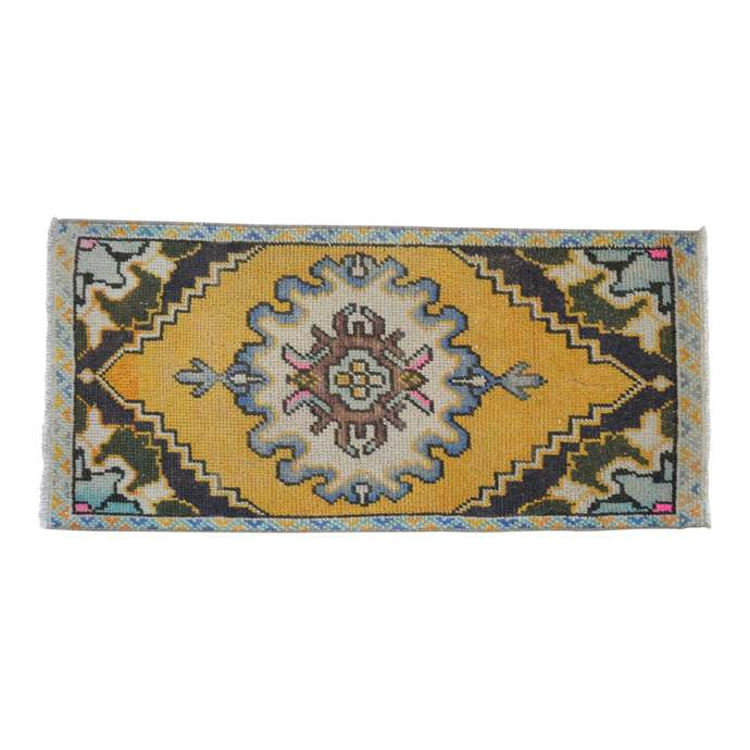 2x3 feet Rug Hand Knotted Small Oushak Rug Distressed Low Pile Front of Kitchen