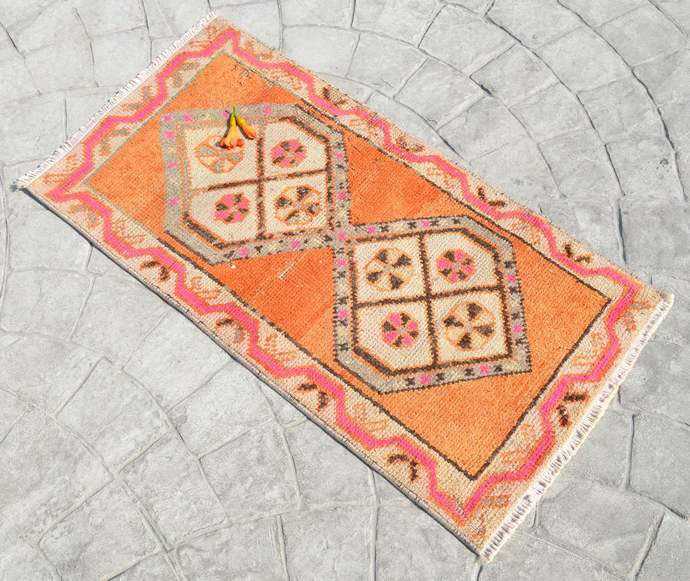 """1'8"""" x 3'2"""" Rug Hand Knotted Oushak Yastik Rug Tribal Patterns Faded Colors"""