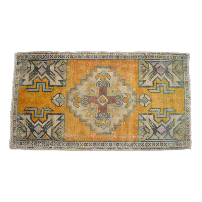 20ʺx36ʺ Rug Hand Knotted Small Oushak Rug Distressed Low Pile Front of Kitchen