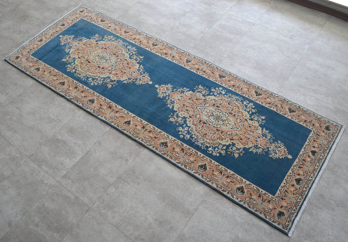 Turkish Oushak Runner 3x8 Rug. Hand Knotted Vintage Hallway Rug Runner Faded