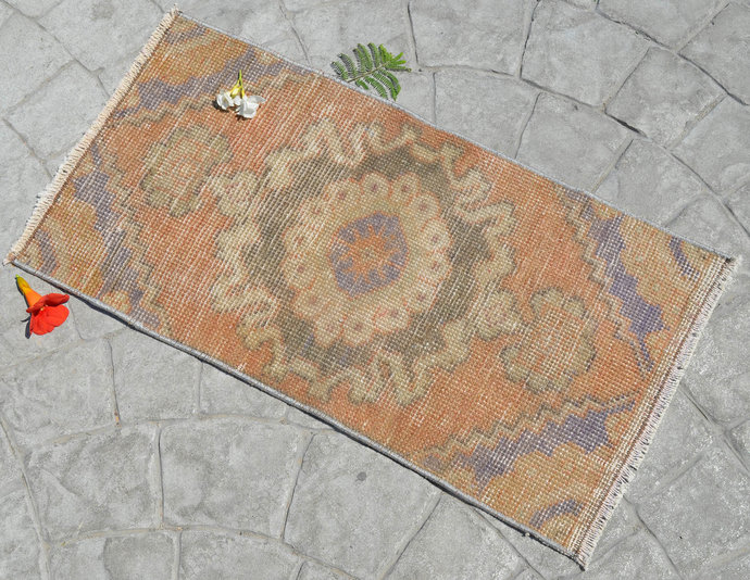 1x3 ft. Rug Hand Knotted Small Oushak Rug Distressed Low Pile Front of Kitchen