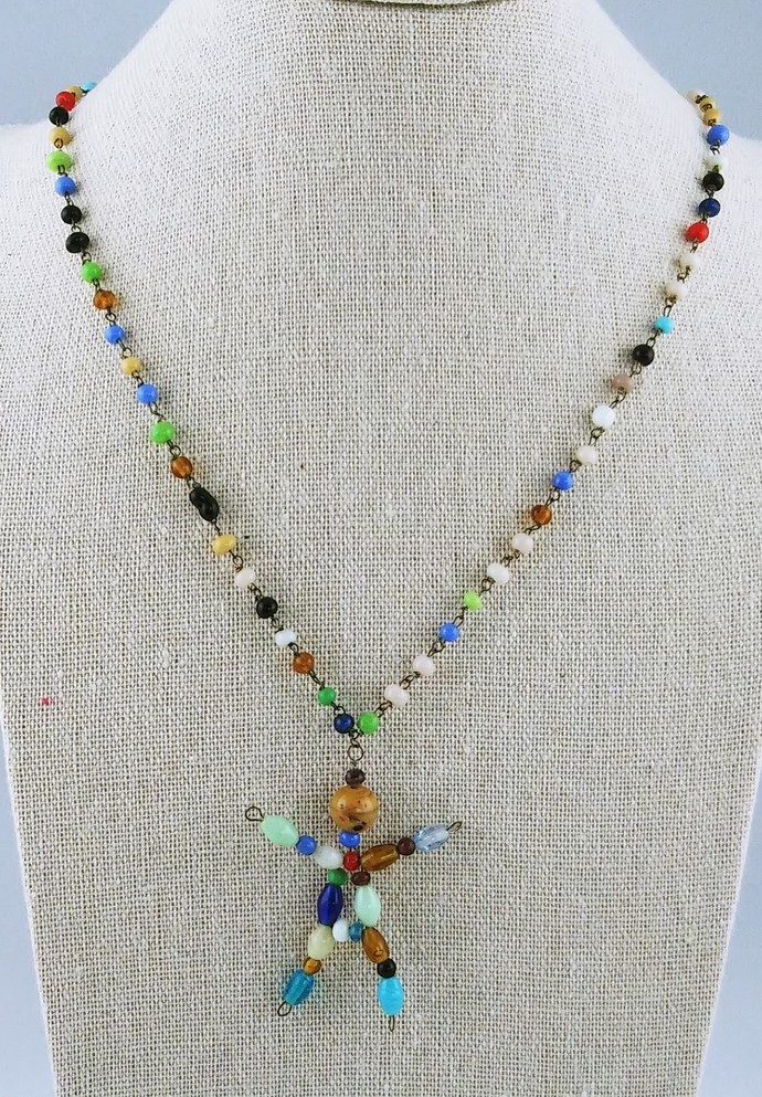 """20"""" Beaded Chain with Stick Figure Pendant"""