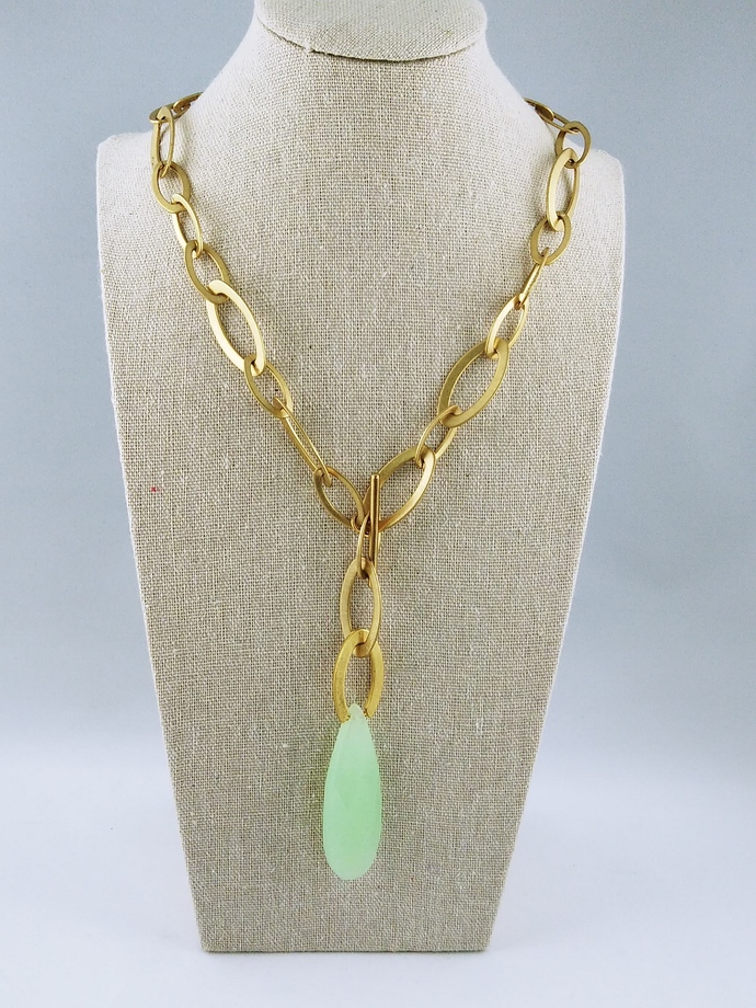 "20"" Chain Necklace with Stone End"