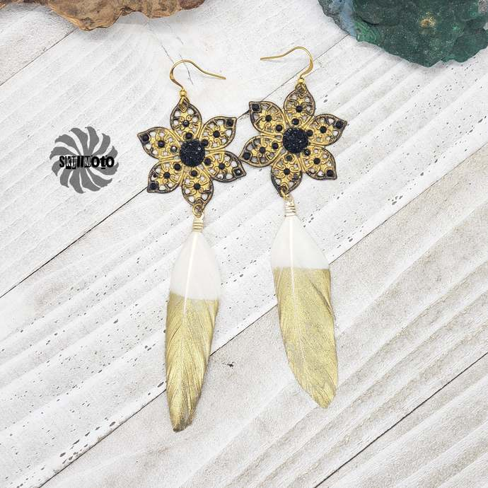 Golden Quil Enhanced Filigree and Golden Dipped Feather Earrings