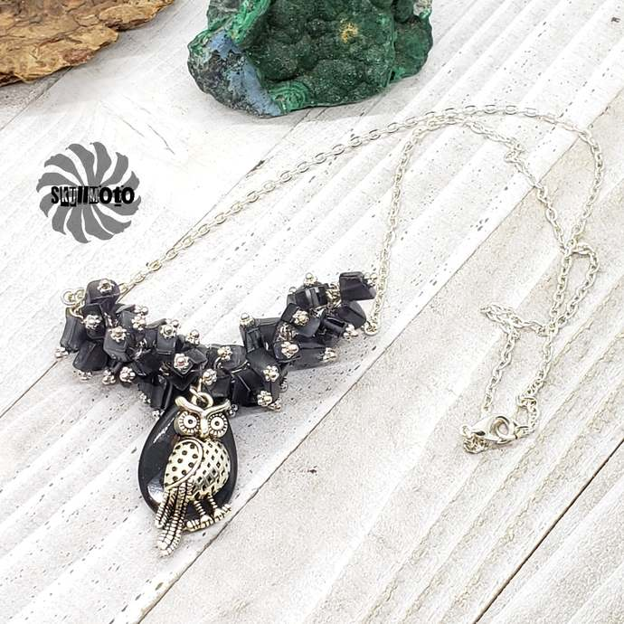 Black Cat's Eye Cluster necklace with Owl