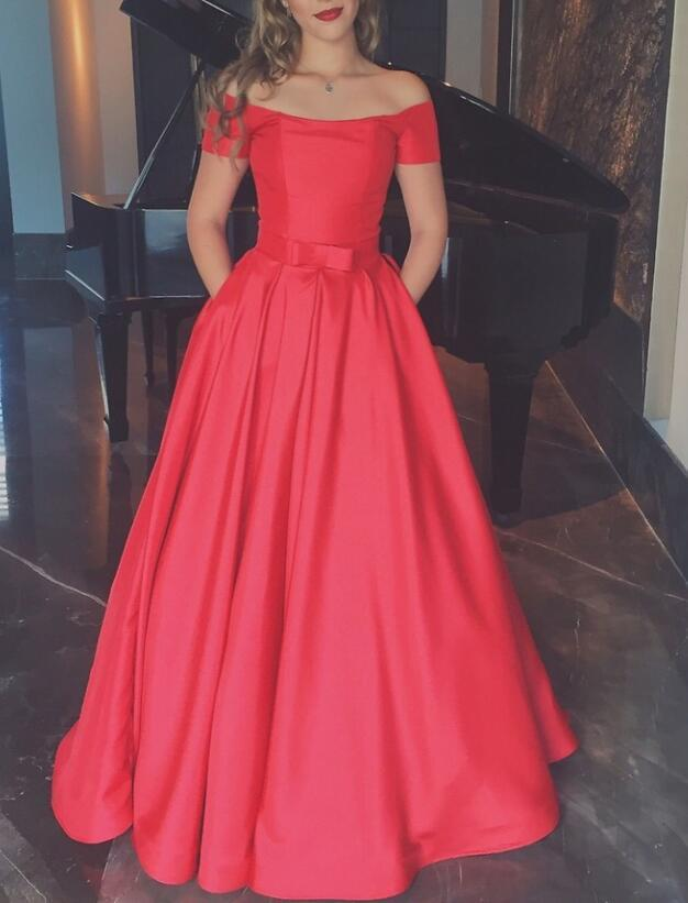High Quality Red Satin Floor Length Long Party Dress, Junior Prom Dress 2020