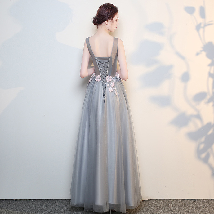 Grey Floral Floor Length Tulle Party Dress, Elegant Prom Dress 2020