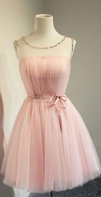 Cheap Blush Pink Short Beading Prom Dresses,A-line Cap Sleeves Homecoming Dress