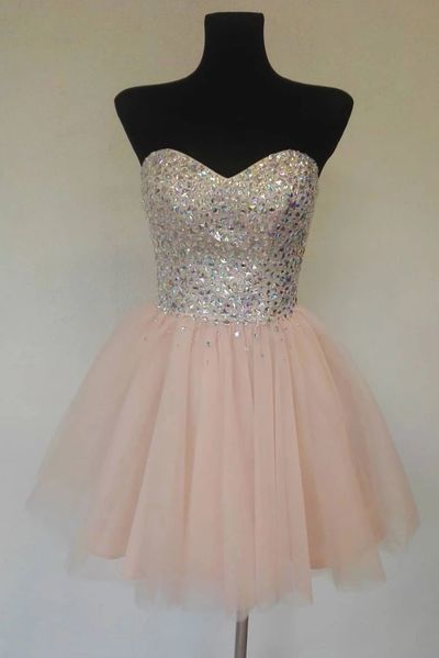 Sweetheart Neck Pink Tulle Beaded Short Strapless Prom Dress, Bridesmaid Dress
