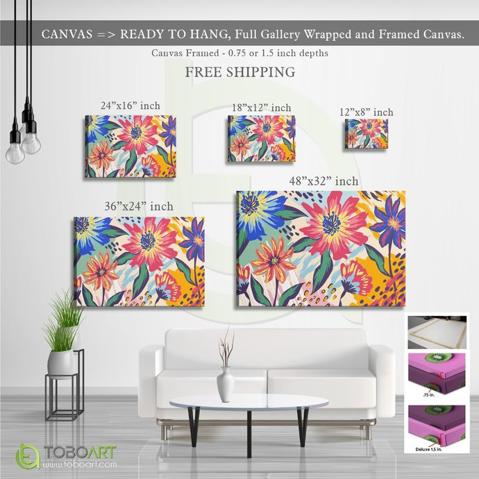 FREE SHIPPING - Colorful Painted Flower, Flower Wall Art CV12 Landscape Canvas