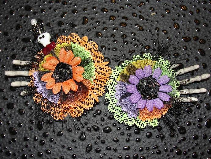 Rest In Pieces Handmade Set of Flowers with Halloween Pin