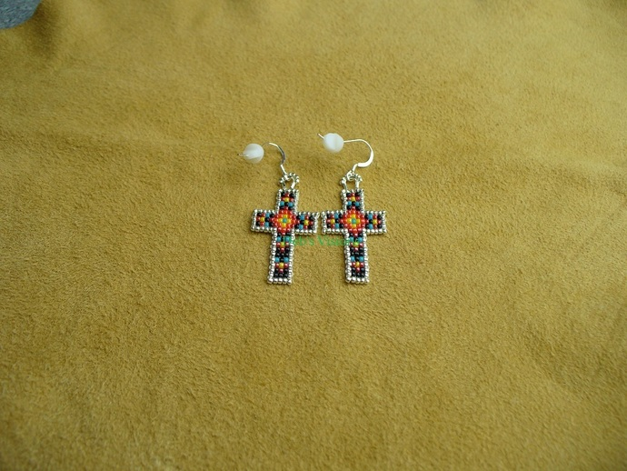 Native American Style Square Stitched  Geometric Design Small Cross Earrings