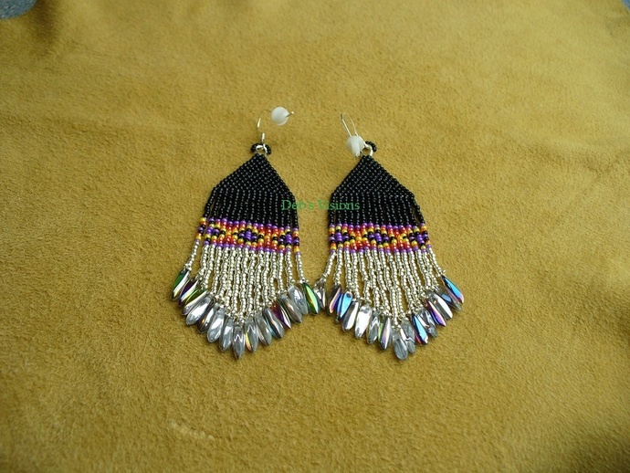 Native American Style Brick Stitched Geometric Design Earrings in Black,Silver