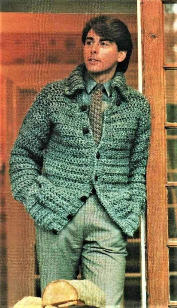 DF Digital Download Vintage Crochet Pattern Mans Mens Bulky Cardigan Jacket