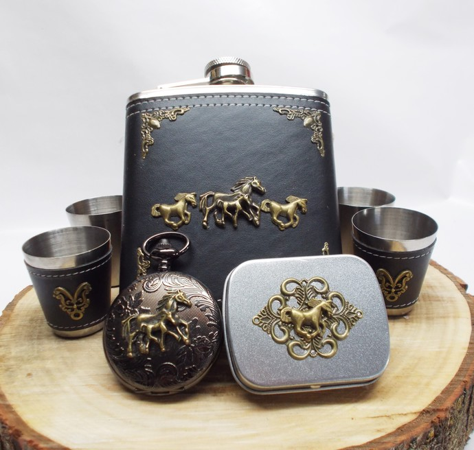 Renaissance Horses Flask Set and Pocket Watch plus Mini Tin Black and Bronze