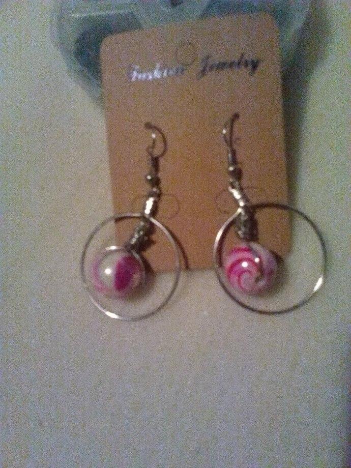 Beads in a Hoop Handmade Earrings