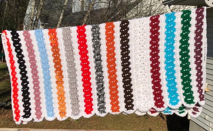 Multi color Afghan, Mile a Minute afghan, Crochet Afghan, Lapghan, 2 Sided