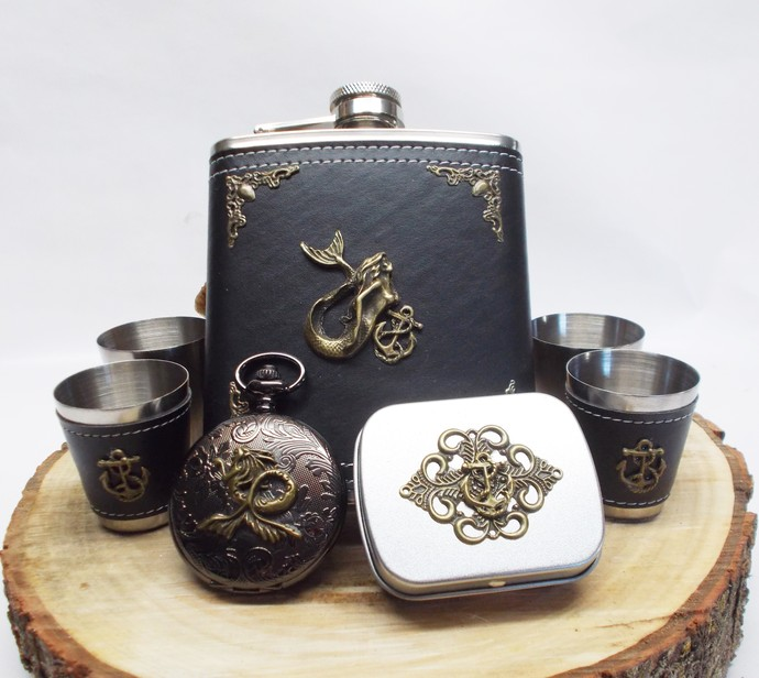 Flask Set Pocket Watch Mini Tin Black and Bronze Mermaid Design Ultimate