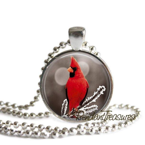 Cardinal Glass Art Handmade Pendant Necklace, Red Bird, Winter Snow Scene,