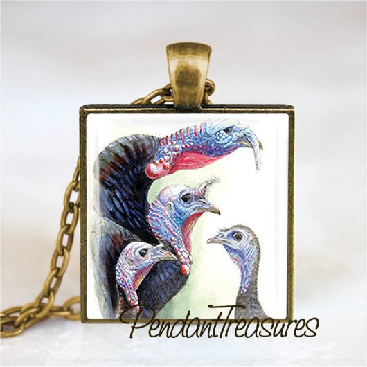 Thanksgiving Turkey Vintage Art  Glass Handmade Pendant Necklace