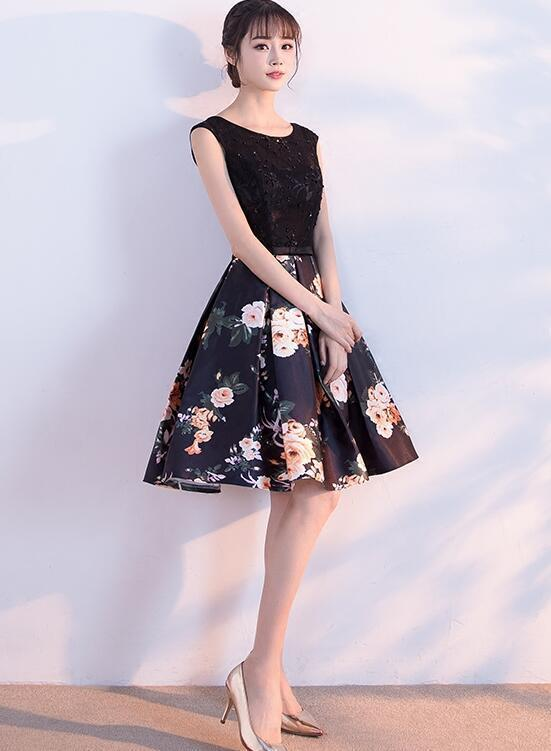 Lovely Black Floral Short Prom Dress, Satin Homecoming Dress