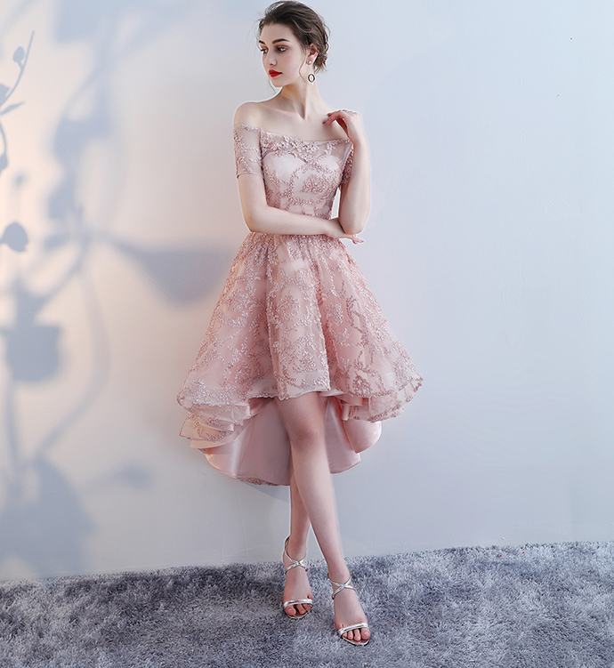 Lovely Pink Off Shoulder Lace New Style Prom Dress, Fashionable Homecoming Dress