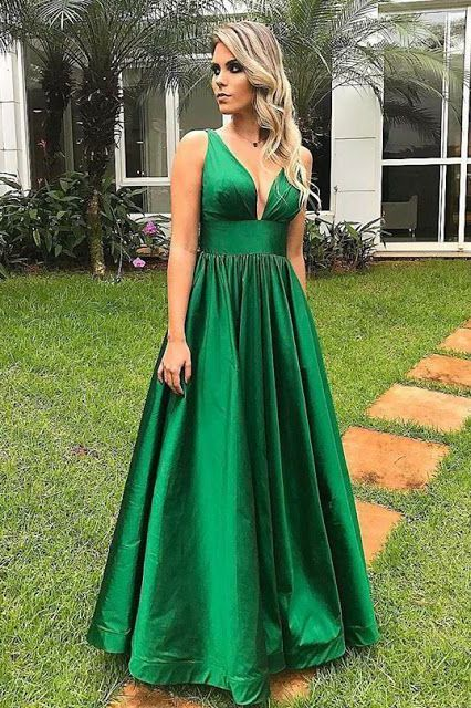 Green Prom Dress,Satin Prom Gown, A-Line Prom Dress, V-Neck Prom Gown 9998