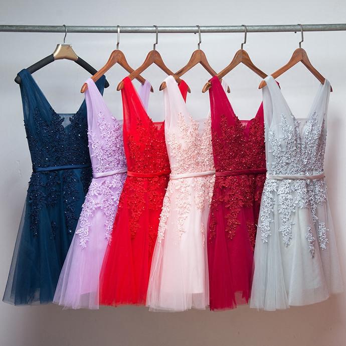 Cute Tulle V-neckline Short Applique Party Dress, Short Bridesmaid Dress