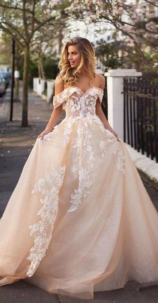 Champagne Prom Dress,Tulle Prom Gown, Appliques Prom Dress, Off the Shoulder
