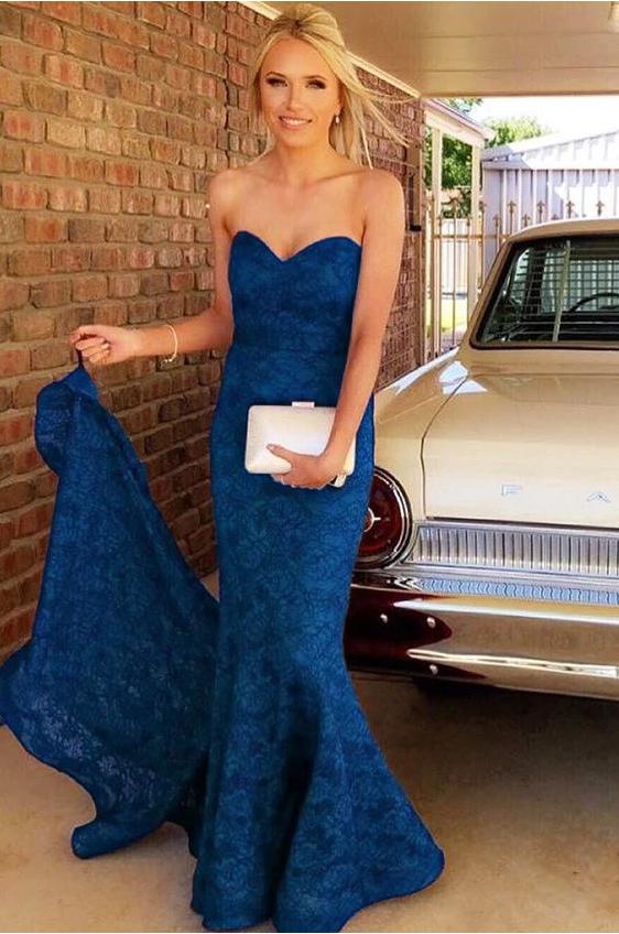 Sweetheart Lace Mermaid Long Prom Dress,FLY538
