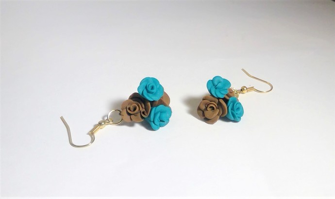 Handmade Bouquet of Flowers earrings polymer clay deep brown turquoise