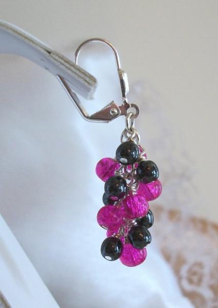 Handmade OOAK Hematite and Czech Glass Fuschia and Black Vineyard Earrings