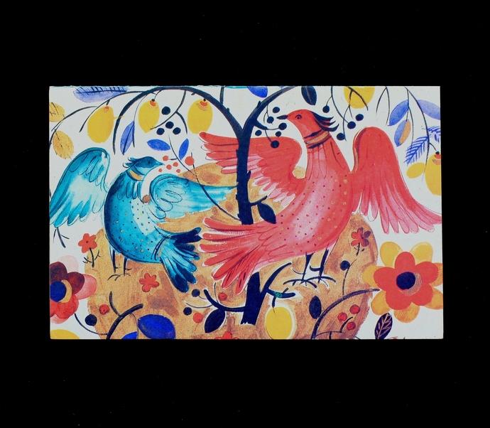 vintage postcard, Birds. Design for a decorative plate
