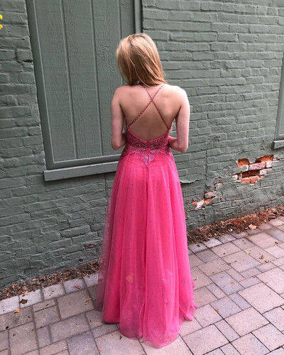 Sexy Sleeveless V neck A Line Prom Dress with Beads, Tulle Backless Evening