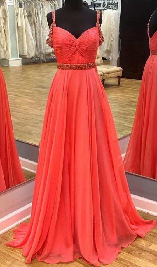 Charming Chiffon A Line Prom Dress, Long Evening Party Dress