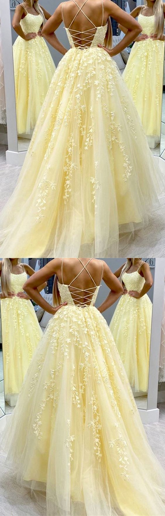 Elegant Tulle Prom Dresses Yellow Ball Gowns with Appliques