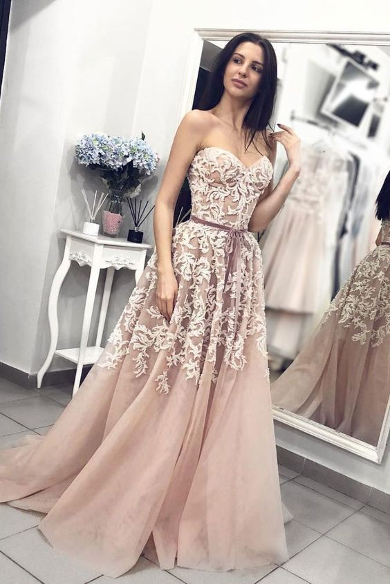Champagne Tulle Sweetheart neck Long Prom Dress with Appliques, Evening Party