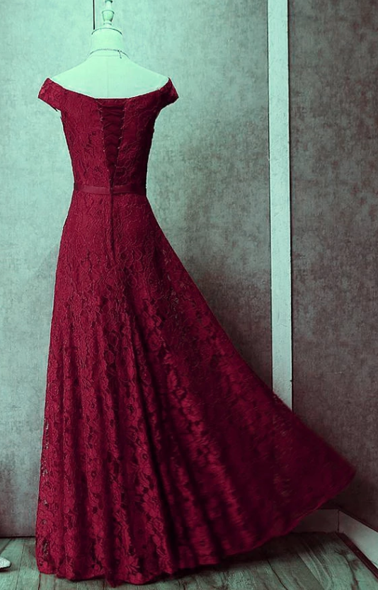Wine Red Off the Shoulder Lace-up Homecoming Dress, Lace Formal Gown, Long