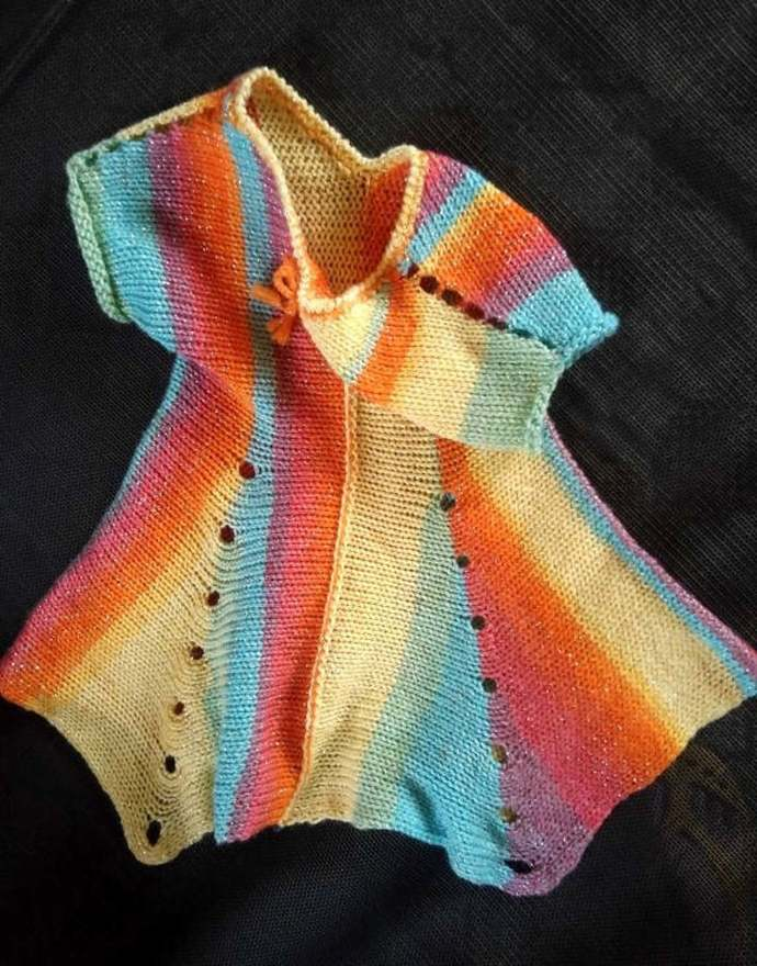 Hand made.   Knitted tunic for girl, Free shipping.