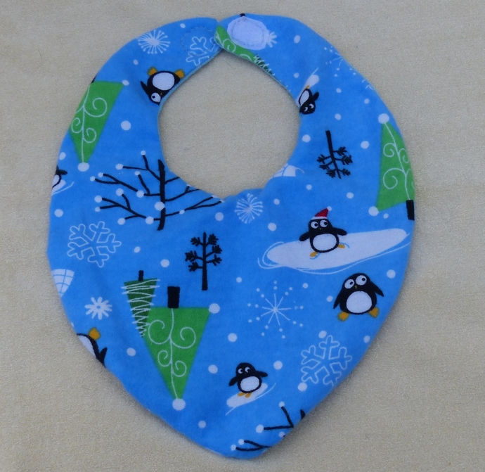 Baby bib scarf, Gift for baby girl or boy, penguin fabric,  Gift for new mom,