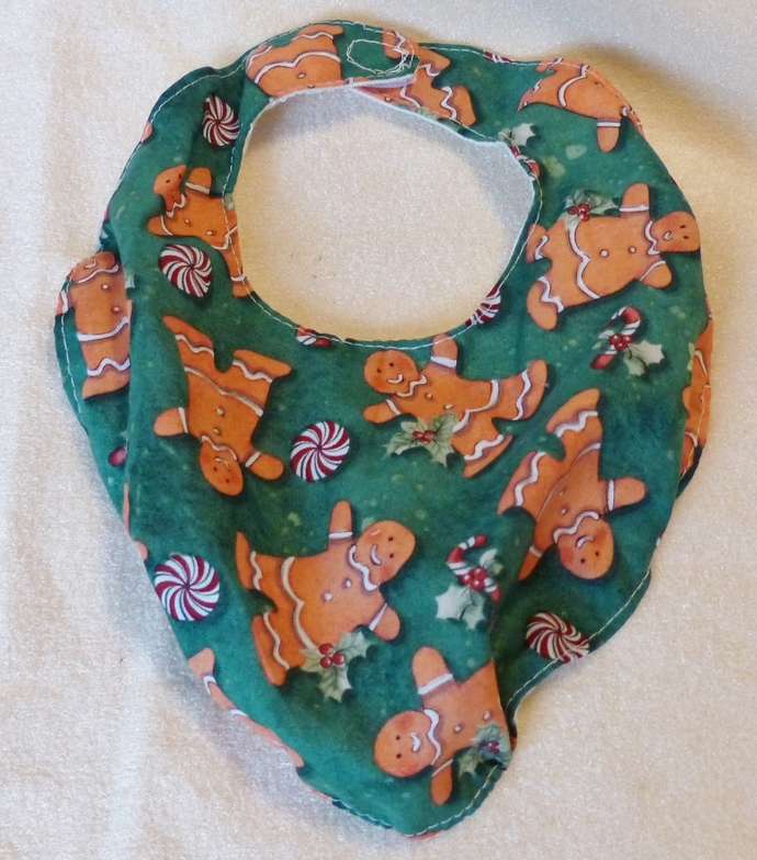 Baby bib scarf, Gift for baby girl or boy, gingerbread man fabric, Gift for new