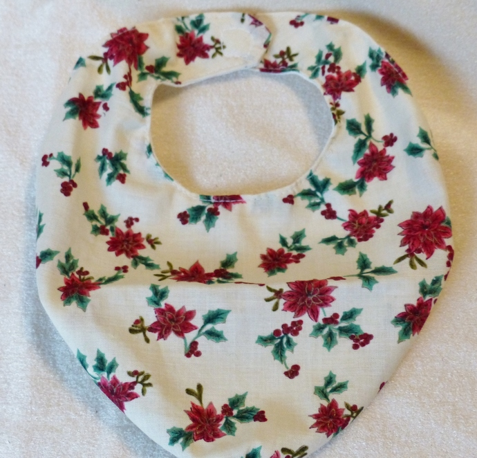Baby bib scarf, Gift for baby girl or boy, holiday poinsettia fabric,  Gift for