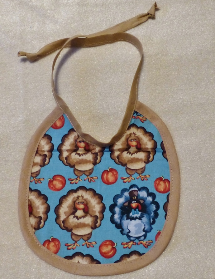 Baby bib, Gift for baby girl or boy, turkey fabric, Gift for new mom, Shower