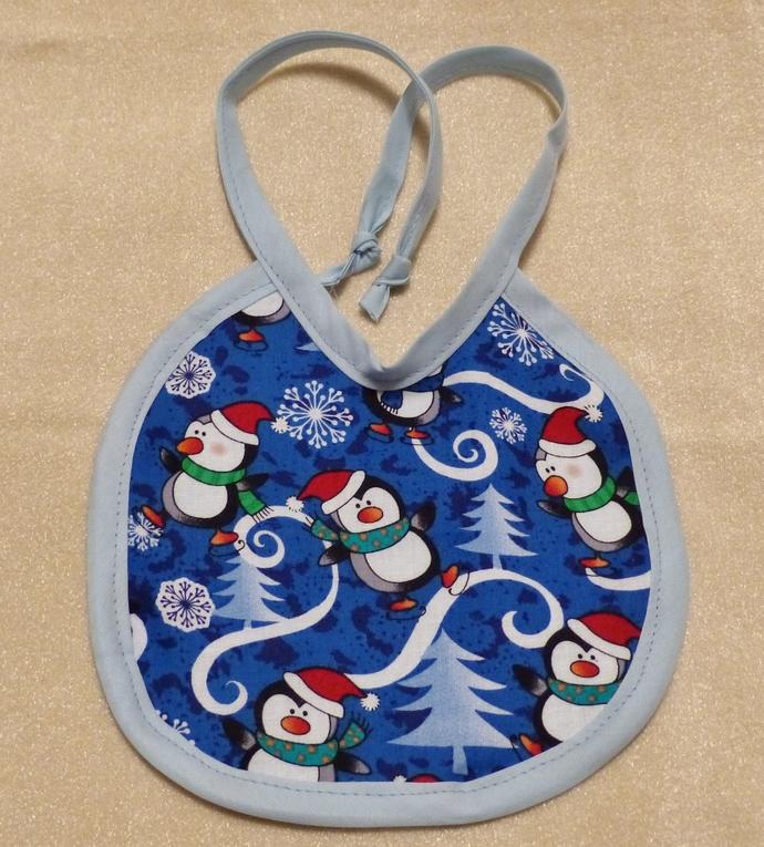 Baby bib, Gift for baby girl or boy, penguins fabric, Gift for new mom, Shower