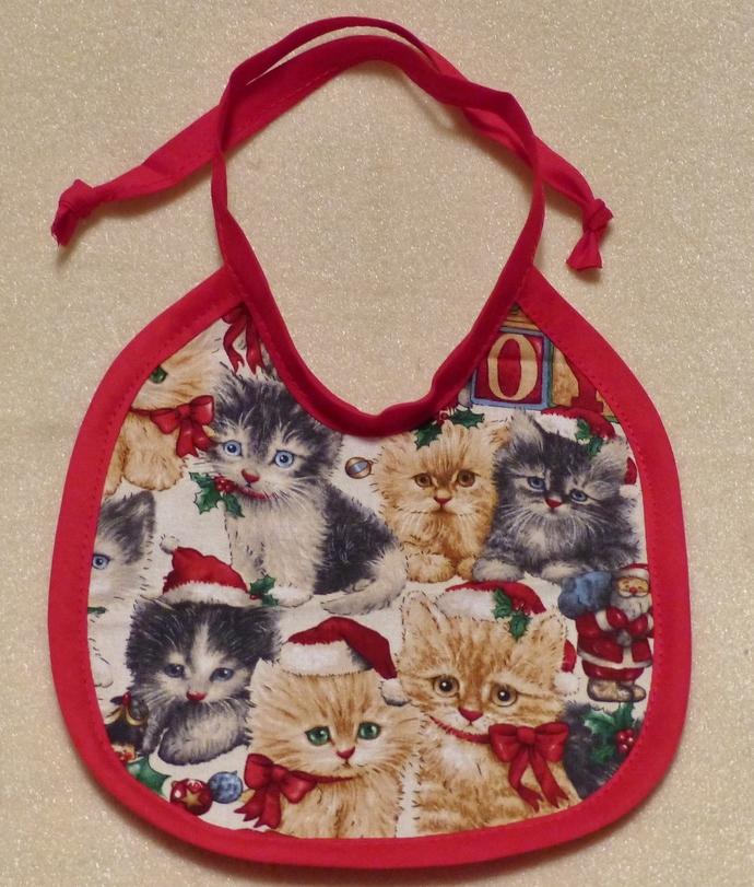 Baby bib, Gift for baby girl, kittens fabric, Gift for new mom, Shower gift,
