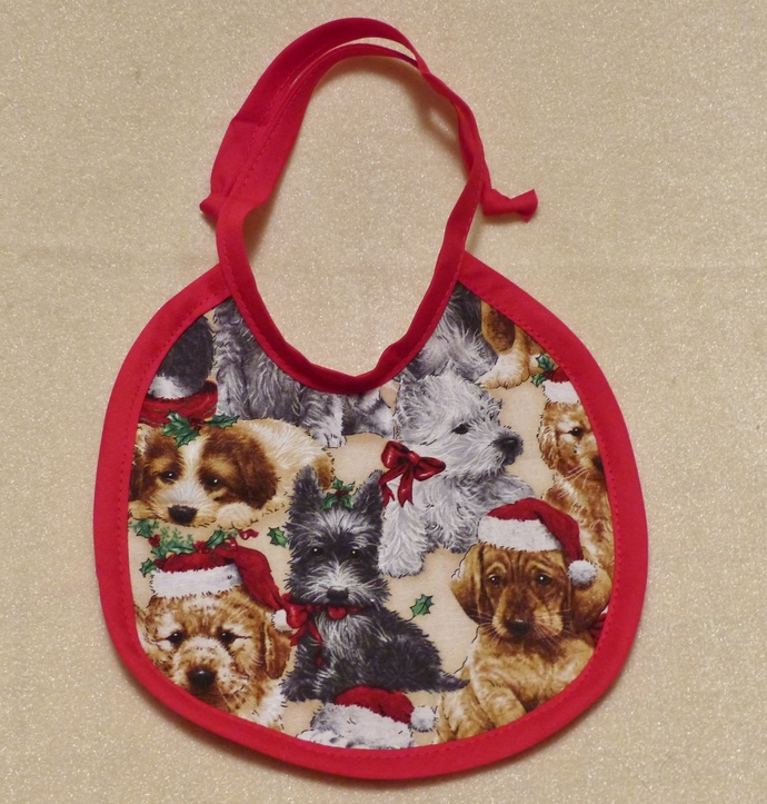 Baby bib, Gift for baby girl, puppies fabric, Gift for new mom, Shower gift,
