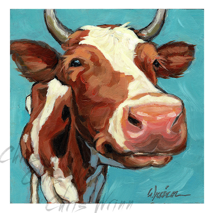 Cute Cow Painting, 5x5 inches on panel, cute animal art, Farmhouse style,